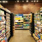 Supermarket aisles filled with packaged food