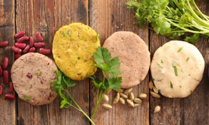 A selection of burger patties made from plants